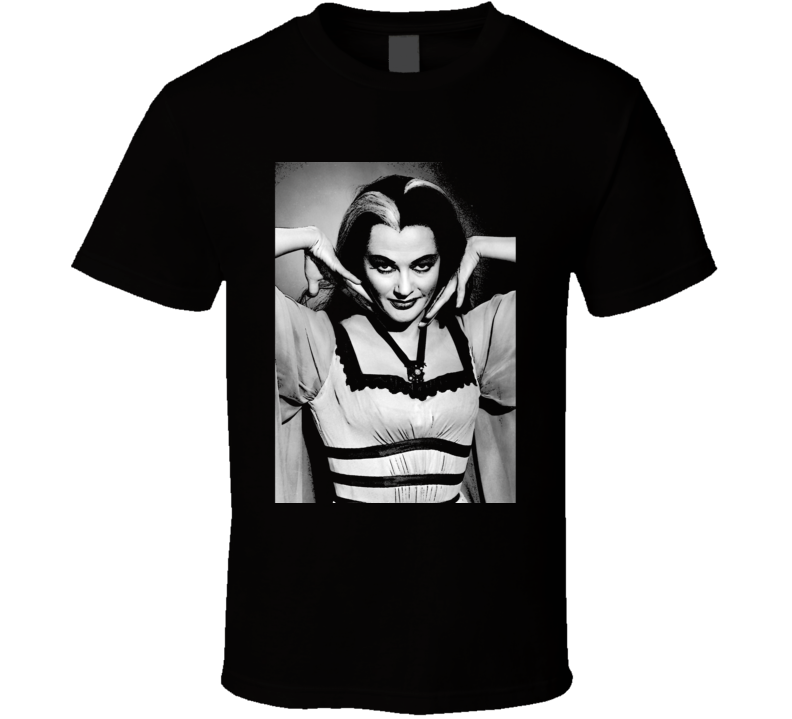 Lily Munster Art Photo Munsters Cult Tv Show Black T Shirt