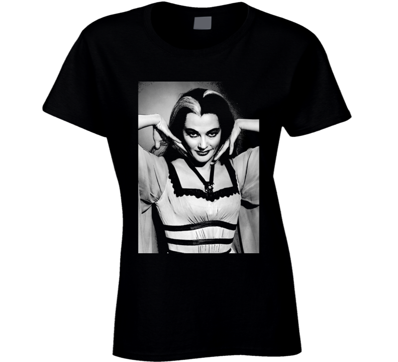 Lily Munster Art Photo Munsters Cult Tv Show Black Ladies T Shirt
