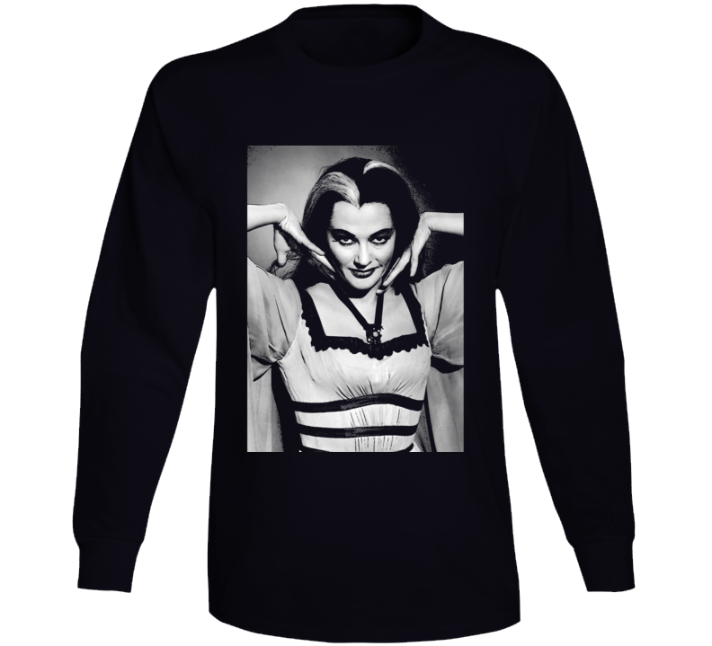 Lily Munster Art Photo Munsters Cult Tv Show Black Long Sleeve T Shirt