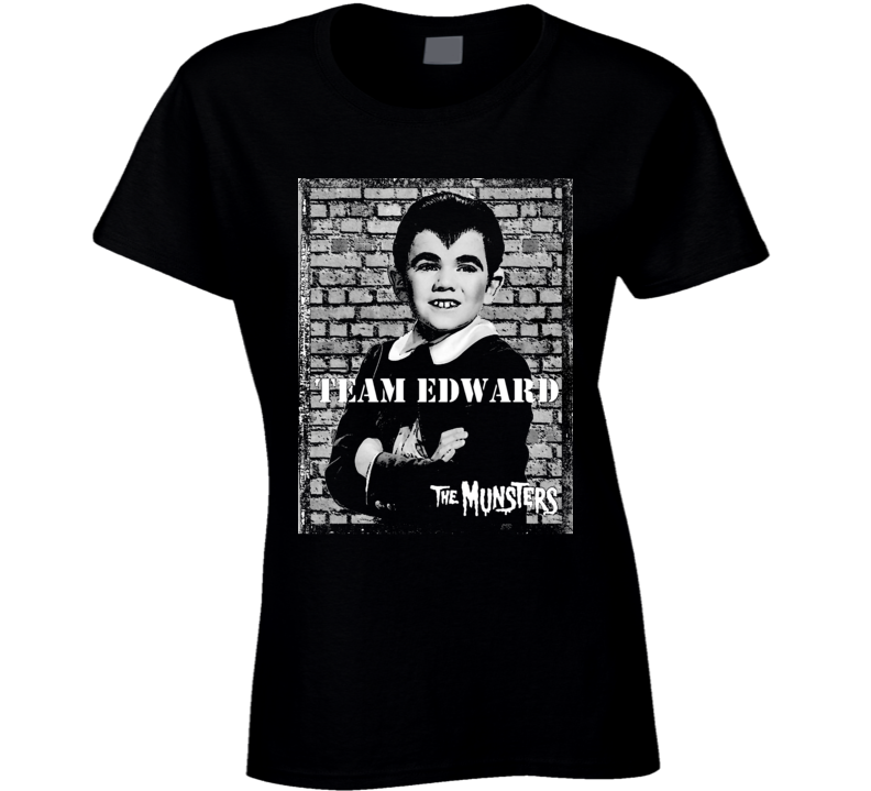 Team Edward Eddie Munster Munsters Tv Show Black Ladies T Shirt