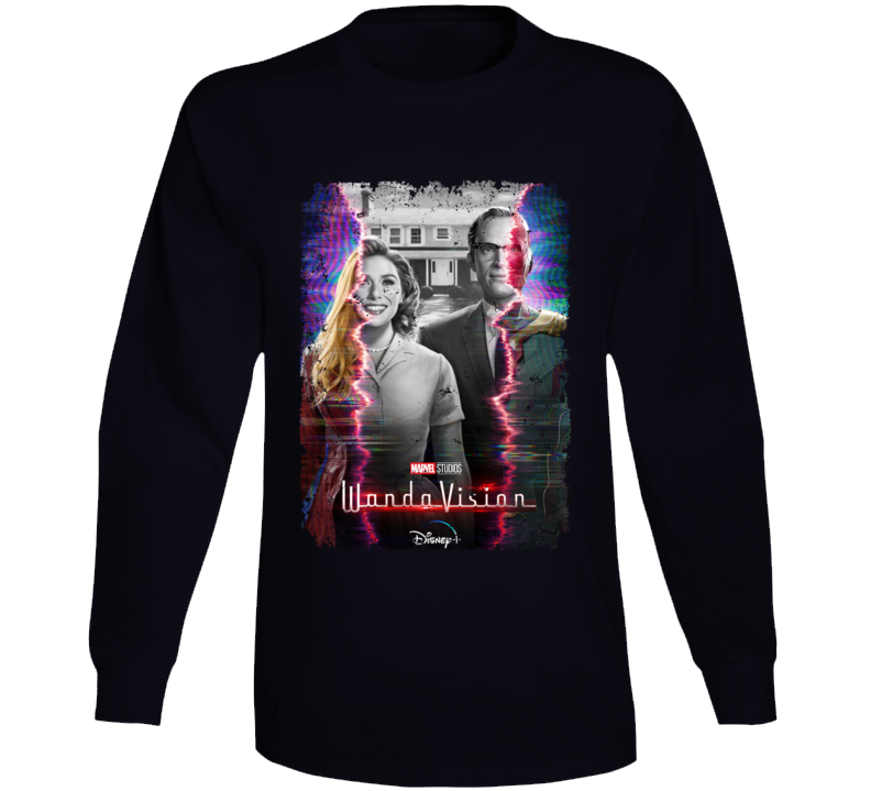 Wandavision Mcu Series Scarlet Witch Vision Distressed Long Sleeve T Shirt