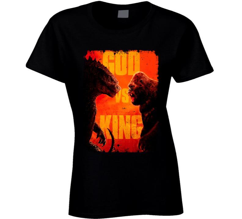 Godzilla Vs Kong Movie King Monsters Kaiju Distressed Ladies T Shirt