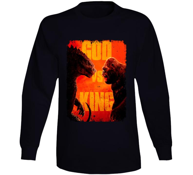 Godzilla Vs Kong Movie King Monsters Kaiju Distressed Long Sleeve T Shirt
