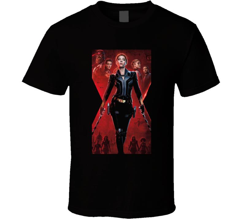 Black Widow Marvel Movie Avenger Scarlett Johansson Black T Shirt