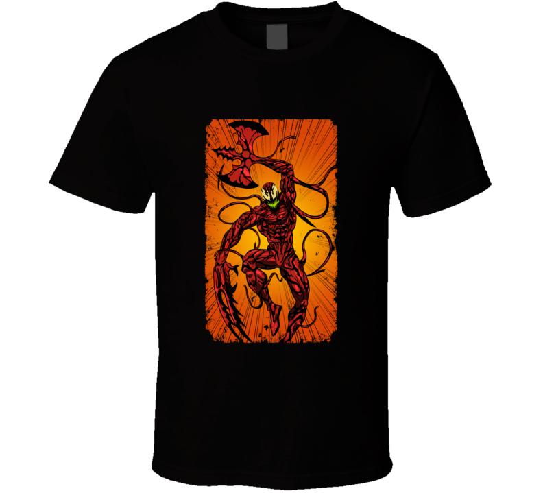 Carnage Spiderman Comics Villain Art Symbiote Distressed T Shirt
