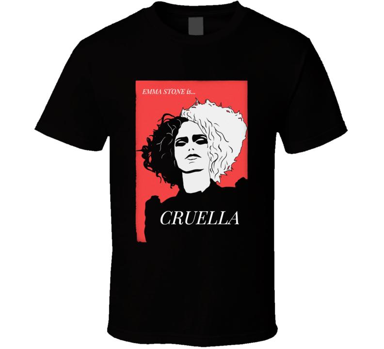 Cruella Deville Movie Poster Emma Stone Art Black T Shirt