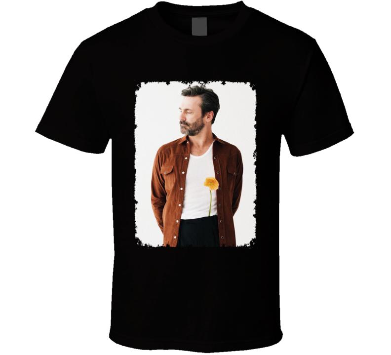 Jon Hamm With Flower Photo Actor Distressed T Shirt