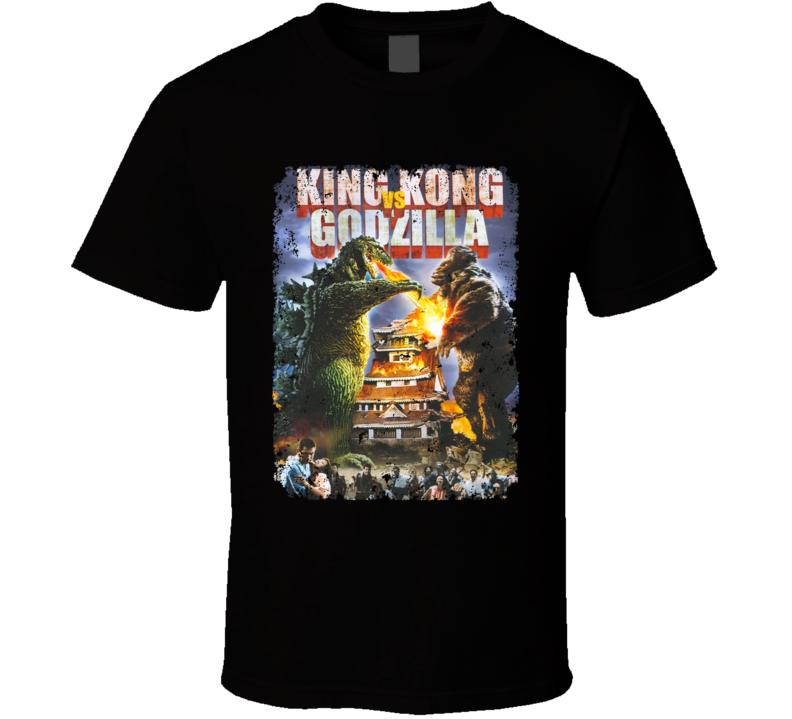 King Kong Vs Godzilla Cult Movie Classic  Aged T Shirt