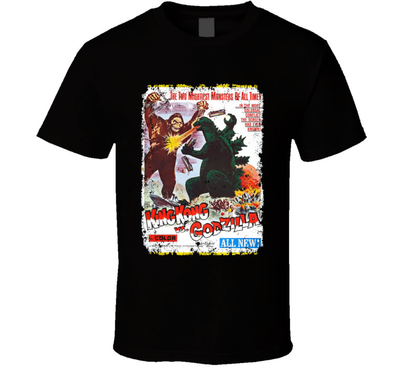 King Kong Vs Godzilla Cult Movie Classic Vintage  Aged T Shirt