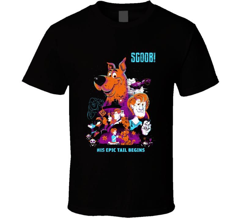 Scoob Movie Art Scooby Doo Shaggy Daphne Fred Velma Aged Black T Shirt