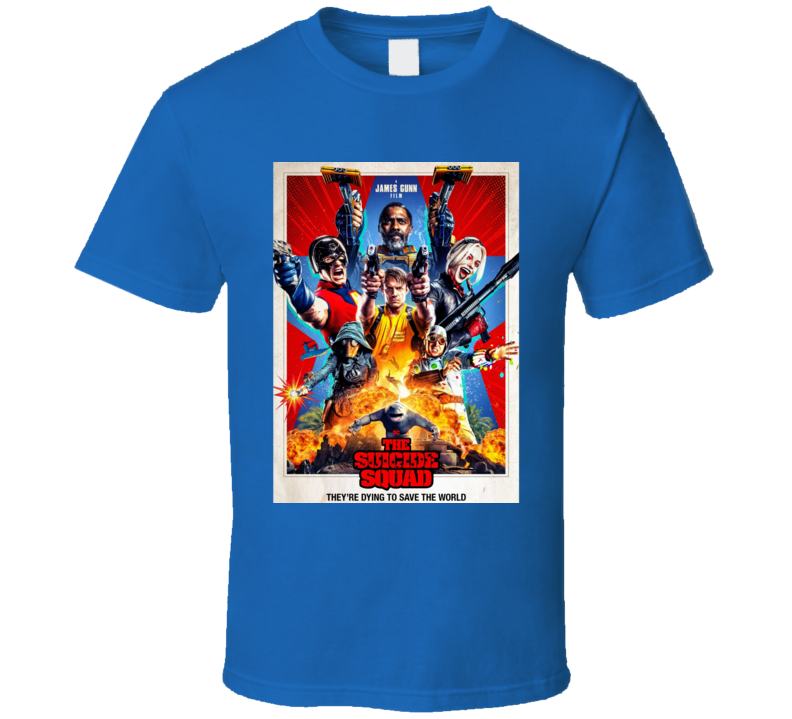 The Suicide Squad Movie Poster Gunn Peacemaker King Shark T Shirt