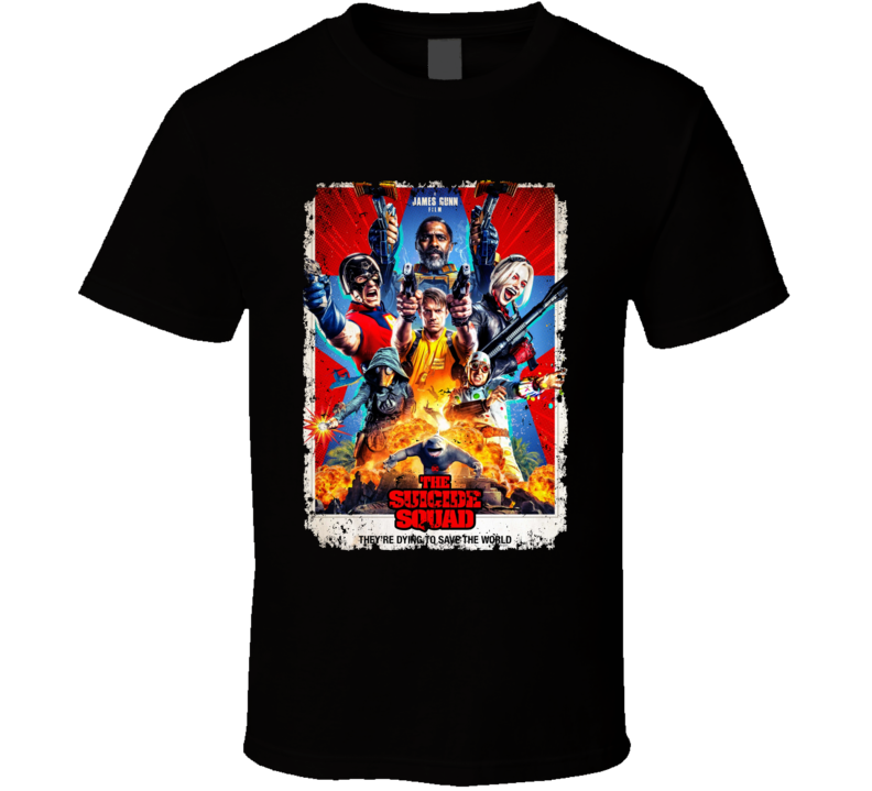 The Suicide Squad Movie Poster Gunn Peacemaker King Shark Aged T Shirt