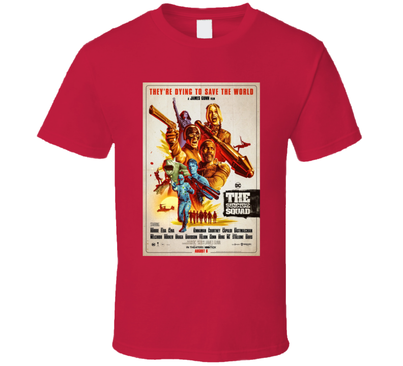 The Suicide Squad Vintage Poster Gunn Peacemaker King Shark T Shirt