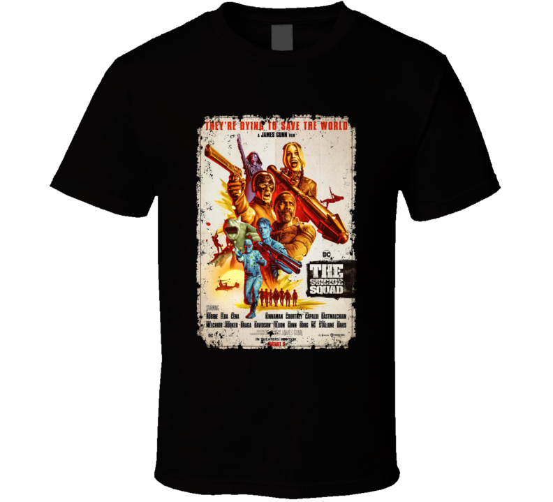 The Suicide Squad Vintage Poster Gunn Peacemaker Quinn Aged T Shirt