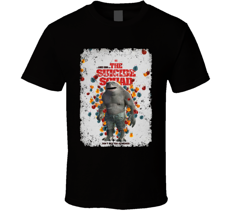 The Suicide Squad King Shark Poster Gunn Movie Aged T Shirt
