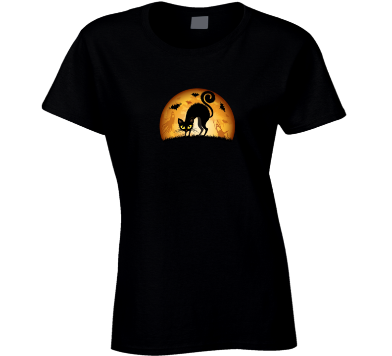 Halloween Scary Cat Bats T Shirt