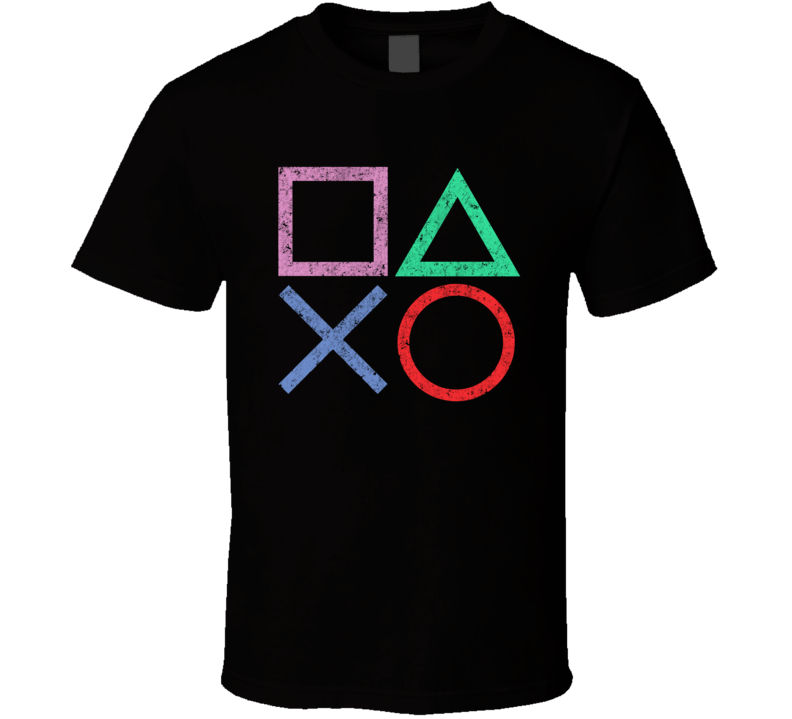 Playstation Controller Buttons Costume Retro Video Game Geek Nerd Gamer Gift T Shirt