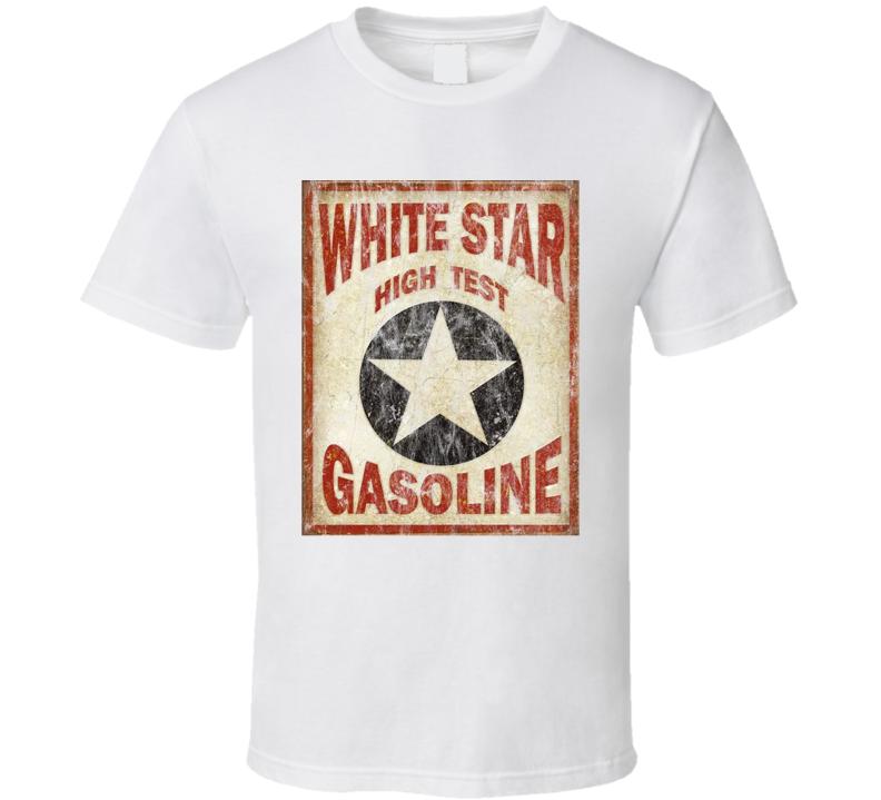 White Star High Test Gasoline Defunct Petrol Oil Companies Gas Stations Car Fan Retro Look T Shirt