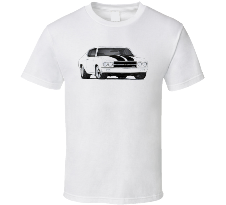 1970 Chevrolte Chevelle Ss Drawing Classic Retro Collectible Car Fan T Shirt