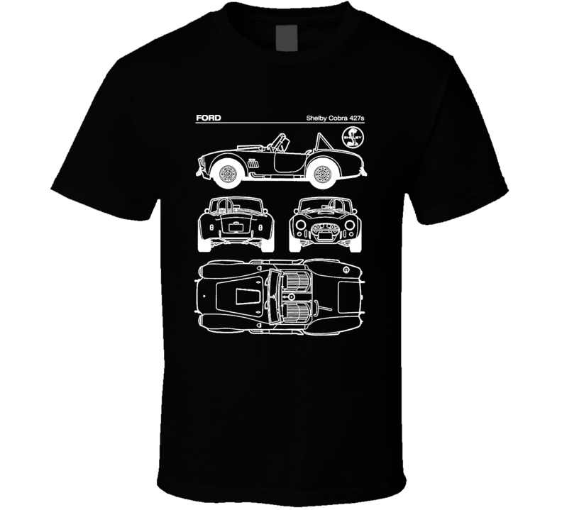 Ford Shelby Cobra 427s Diagrams Blueprint Classic Collectible Car Fan Worn Look T Shirt