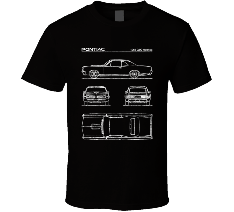 Pontiac 1966 Gto Hardtop Diagrams Blueprint Classic Collectible Car Fan Worn Look T Shirt