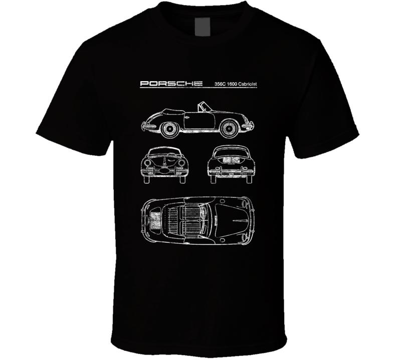 Porsche 356c 1600 Cabriolet Diagrams Blueprint Classic Collectible Car Fan Worn Look T Shirt