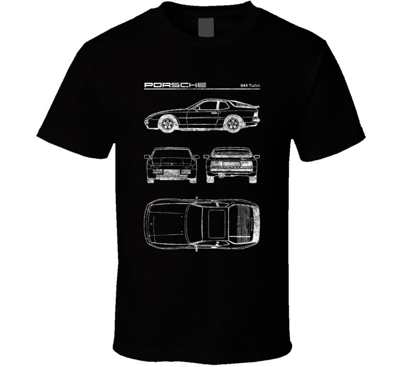 Porsche 944 Turbo Diagrams Blueprint Classic Collectible Car Fan Worn Look T Shirt