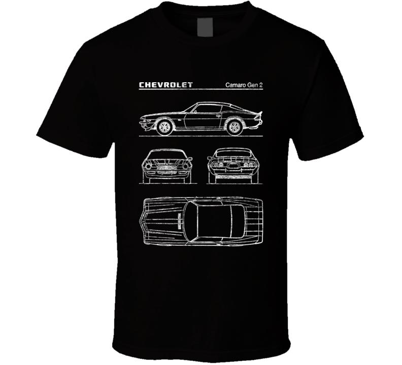 Chevrolet Camaro Gen 2 Diagrams Blueprint Classic Collectible Car Fan Worn Look T Shirt
