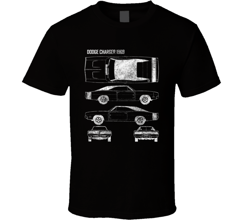 1969 Dodge Charger Diagrams Blueprint Classic Collectible Car Fan Worn Look T Shirt