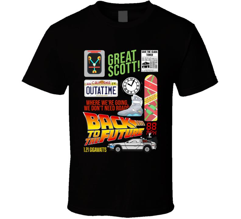 Back To The Future Retro Movie Mashup  Fan T Shirt