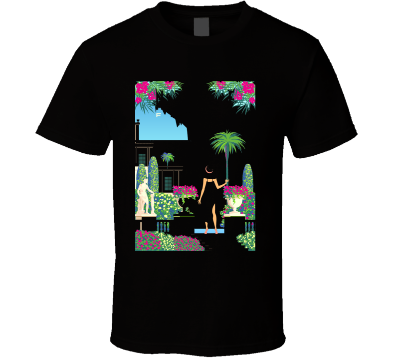 Woman On Vacation On French Riviera Coast Vintage Poster Handmade Drawing Vector T Shirt