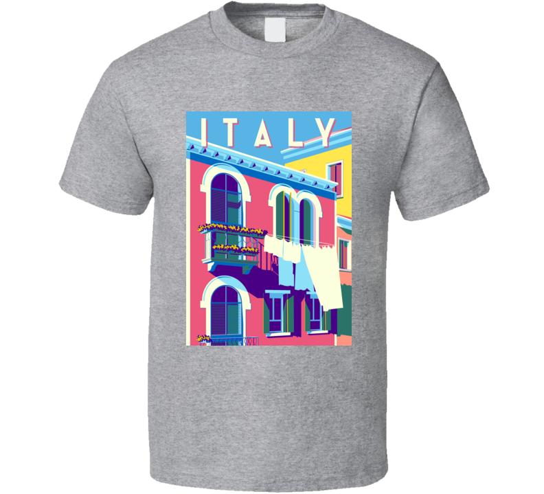 Sunny Summer Day In Italy Handmade Drawing Vector Illustration Pop Art Retro Can & T Shirt