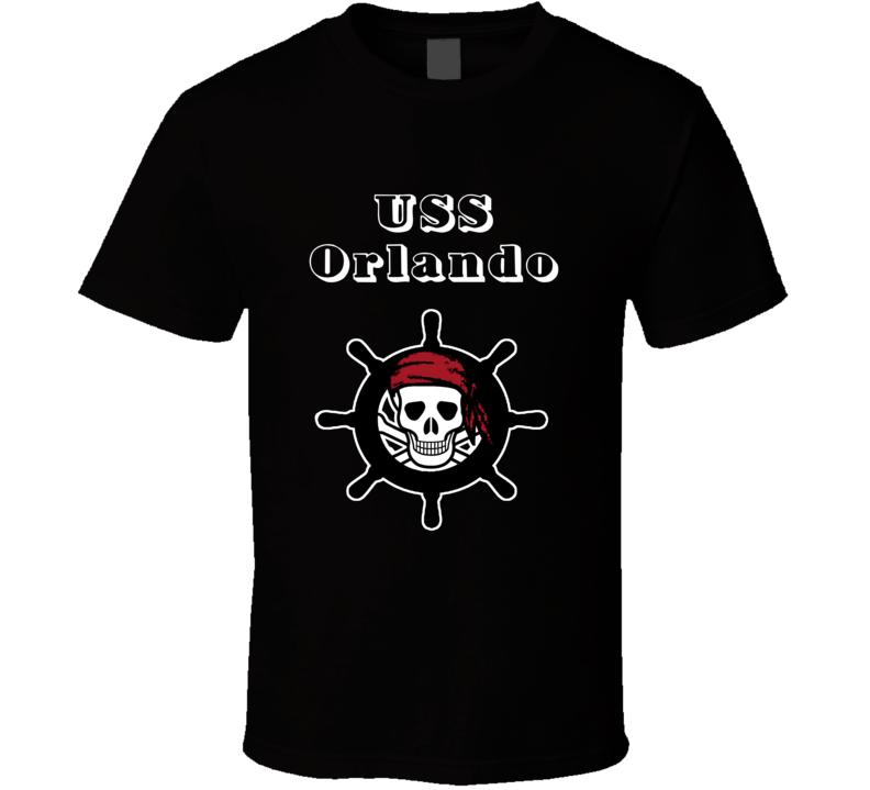 USS Orlando Trending Skull Pirate Ship T Shirt