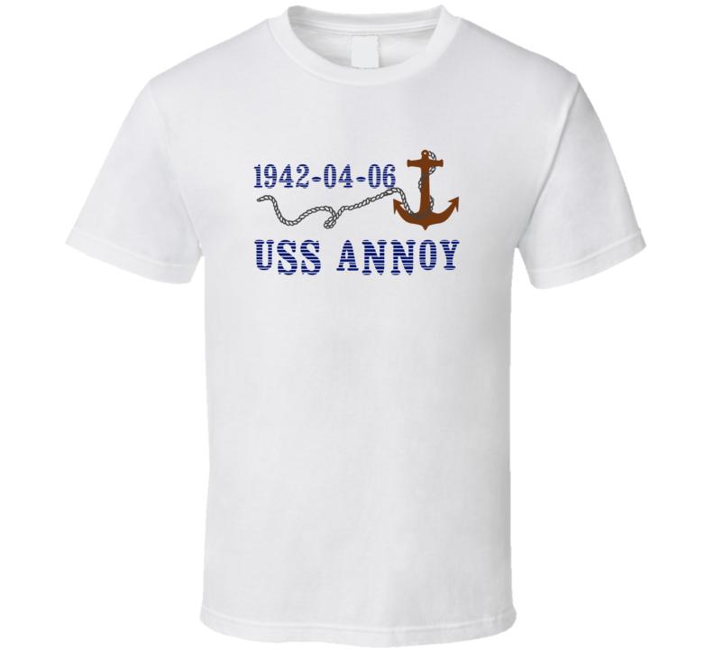 USS Annoy 15437 Anchor Navy Ship TShirt