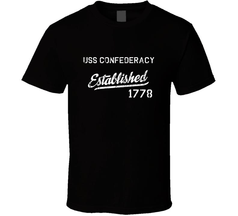 USS Confederacy Established 1778 US Navy Grunge T Shirt