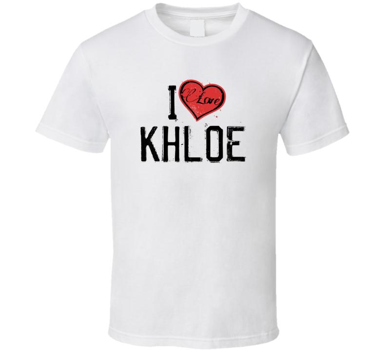 Khloe Love Heart Cool Trending Custom Name Valentines Gift T Shirt