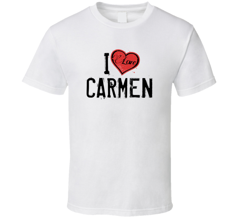 Carmen Love Heart Cool Trending Custom Name Valentines Gift T Shirt