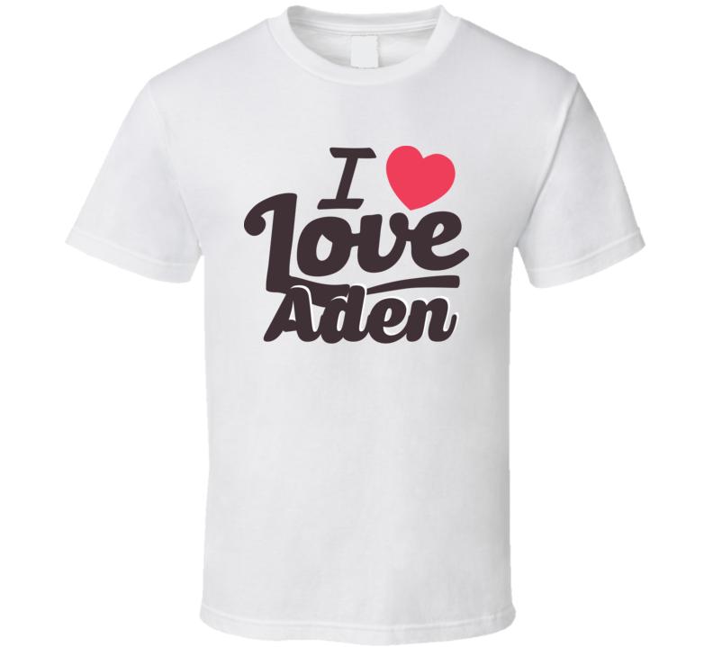 Aden I Love Boyfriend Girlfriend First Name Cool Valentines T Shirt