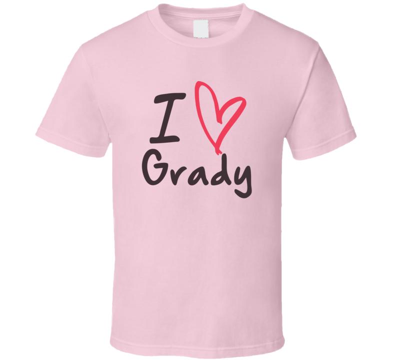 Grady Love Heart Valentines Day Cute Custom Name Trending T Shirt
