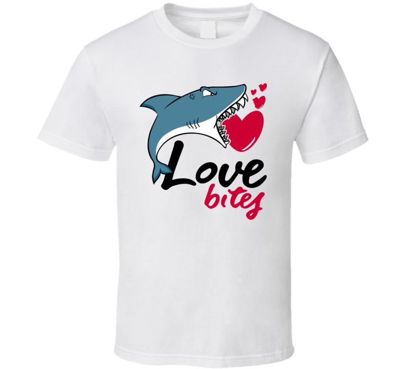 Love Bites Funny Cute Shark Cartoon T Shirt