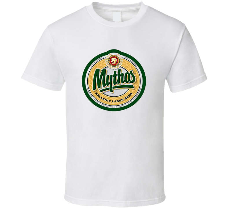 Mythos Hellenic Larger Beer Cool Booze Logo Party Tshirt