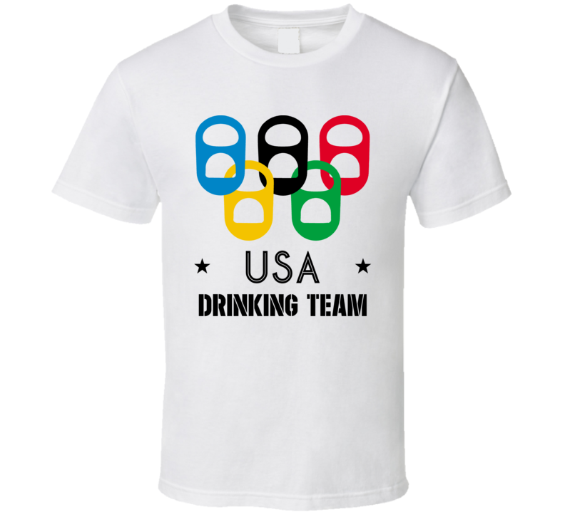 USA Drinking Team Olympic Ring Beer Tab Games T Shirt