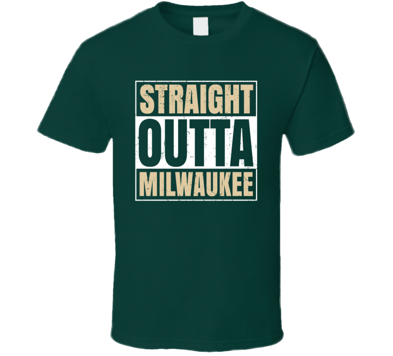 Straight Outta Milwaukee Basketball Team Colors Popular Fan Parody T Shirt