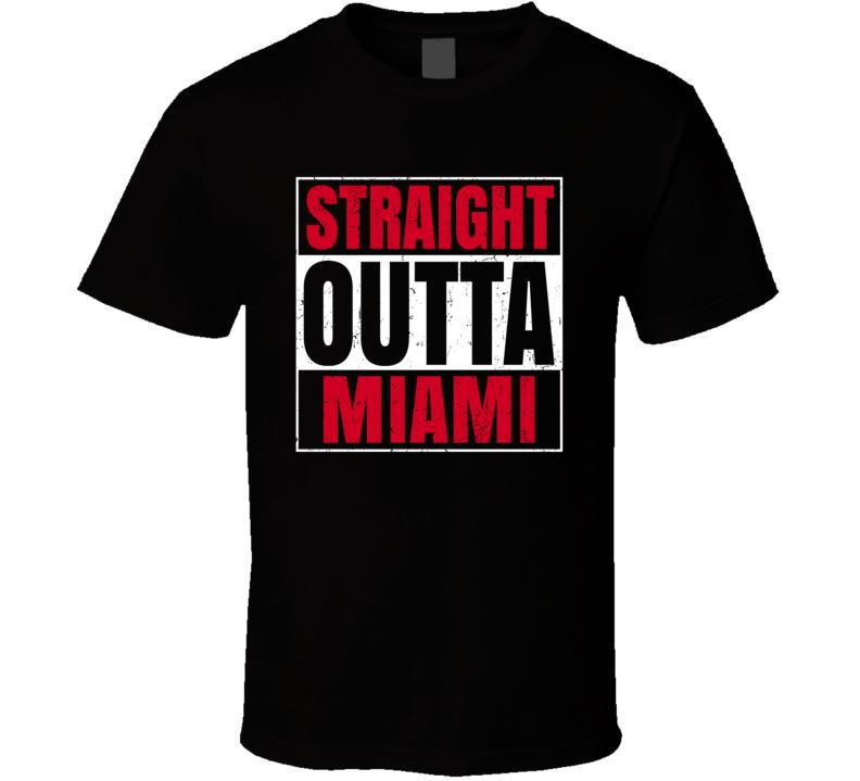 Straight Outta Miami Basketball Team Colors Popular Fan Parody T Shirt