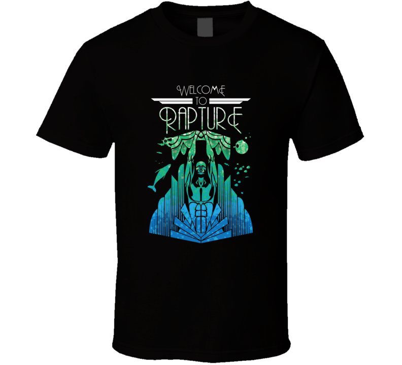 Bioshock Welcome To Rapture Travel Poster Cool Video Game Tshirt