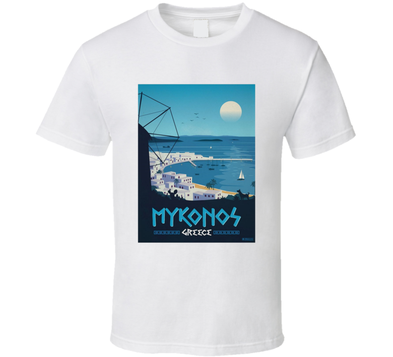Mykonos Greece Classic Vintage Travel Poster Tshirt