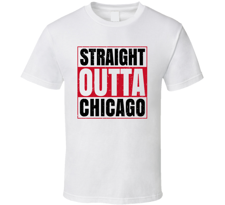 Straight Outta Chicago Hockey Team Colors Popular Fan Parody T Shirt