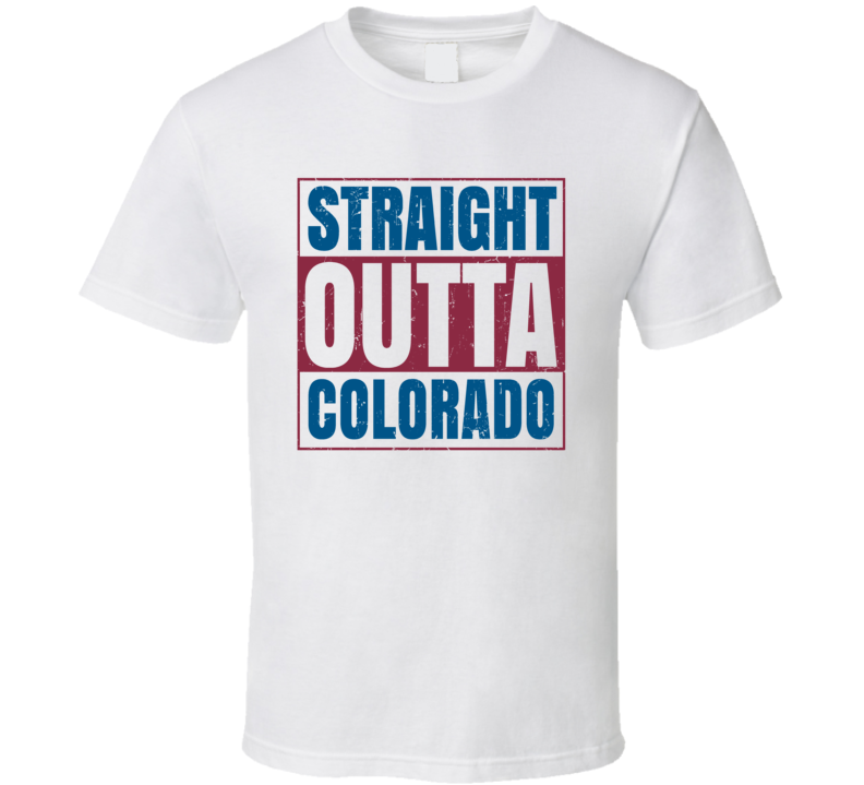 Straight Outta Colorado Hockey Team Colors Popular Fan Parody T Shirt