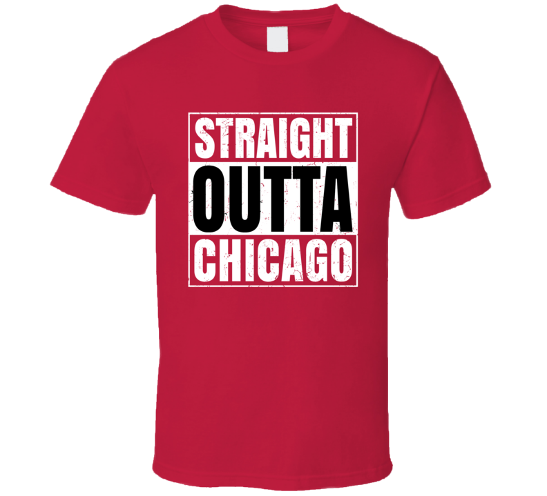 Straight Outta Chicago Hockey Team Color Popular Fan Parody T Shirt