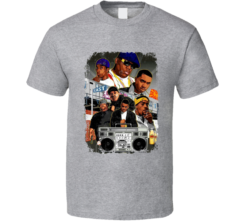 Old School Eastcoast Biggie smalls Wu Tang Clan Big Pun Big L Hip Hop Rap Music Tshirt